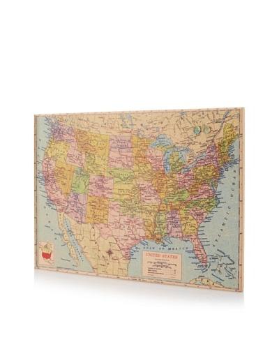 """US Map"" Giclee on Cork Board"