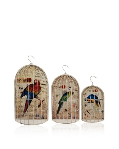 Set Of 3 Wire Bird Cages [Multi]