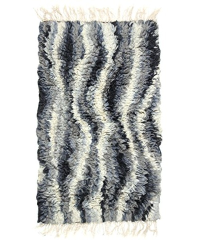 Swedish Handmade Rya Rug, Black/Grey/White, 2' 6 x 4' 2
