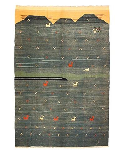 Kilim Rug, 6.5' x 10', Blue/Green/Salmon