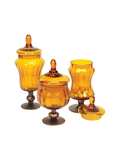 Melrose Set of 3 Canisters, Amber