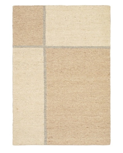 Hand Woven Natural Plush Wool Flatweave Kilim, Cream, 3' 11 x 5' 11