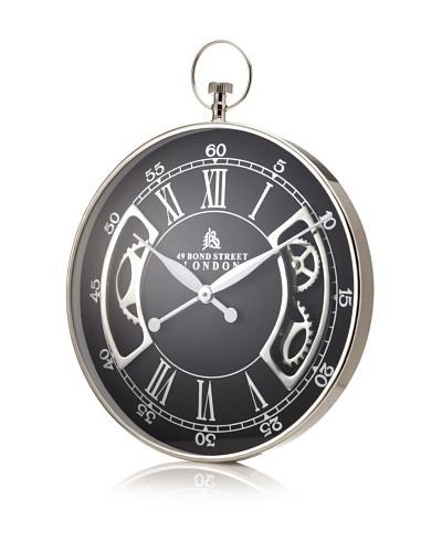 49 Bond Street Wall Clock, Silver/Black