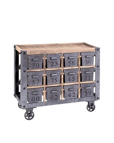 Metal Cart with Wood Top & 13 Numbered Metal Compartments