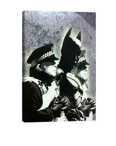 Banksy Batman and The Police Canvas Print Graffiti