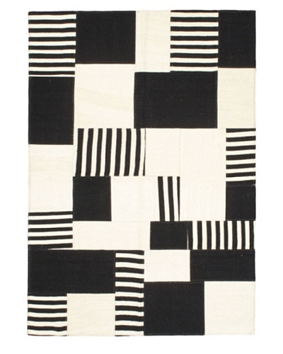 "Hand Woven Moldovia Patch Wool Kilim, Black/Cream, 4' 8"" x 6' 8"""