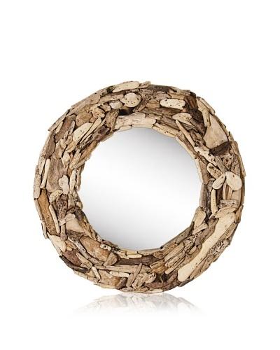 Round Drfitwood Mirror, Natural