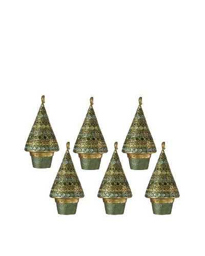 Set of 6 Festive Sparkle Horizontal Dot Place Holders