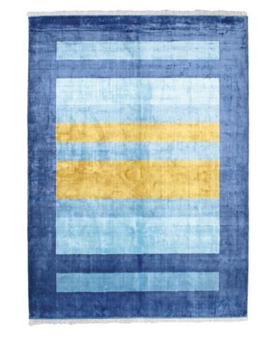 "Hand-Knotted Silk Touch Modern Rug, Light Blue, 6' 8"" x 9' 4"""
