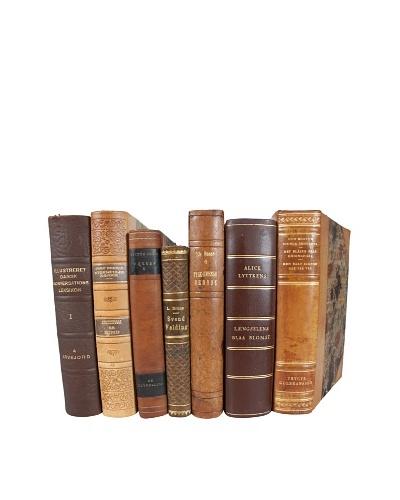 Set of 7 Decorative Leather Books, Multi