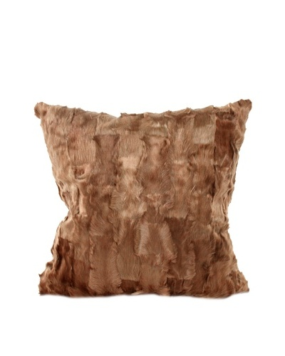 """Upcycled Cowhide Pillow, Brown, 18"""" x 18"""""""