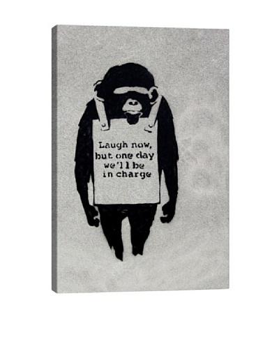 Banksy Laugh Now, Sandwich Board-Wearing Monkey Canvas Print