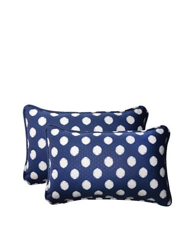 Set of 2 Outdoor Solar Spot Pool Rectangle Corded Toss Pillows [Navy/Cream]