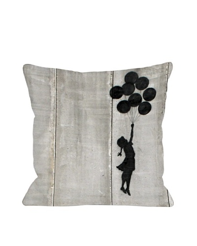 Banksy Girl with Balloons Pillow