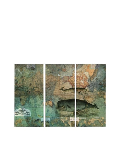 Oliver Gal The World Map Triptych Canvas Art