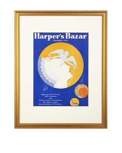 Original Harper's bazaar cover dated 1928. by Erte. 16X20 framedAs You See