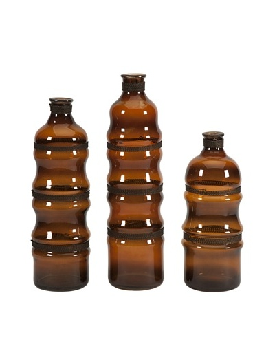 Set of 3 Cumulas Glass Bottles with Wire Wrap