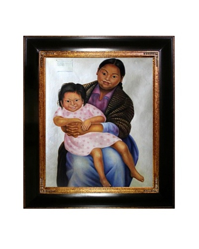 "Diego Rivera's ""Portrait of Madesta and Inesita"" Framed Reproduction Oil Painting"