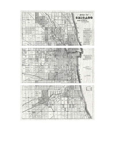 Oliver Gal Map of Chicago 1857 Triptych Canvas Art