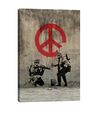 Banksy Soldiers Painting Peace Canvas Print