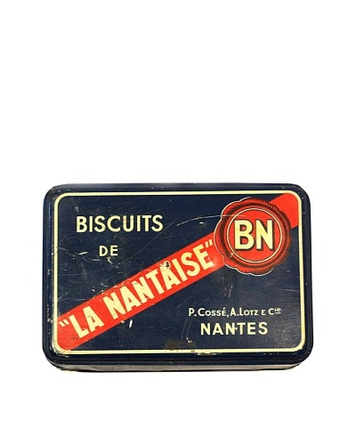 Vintage Biscuits De La Nantaise Tin, Blue/Red