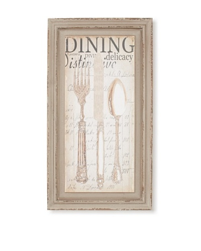"Wood-Framed ""Dining"" Print, 22"" x 12"""