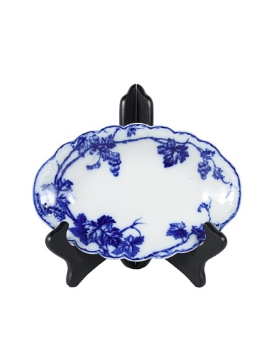 Flow Blue Warwick By J.B. Relish Plate, Blue/White