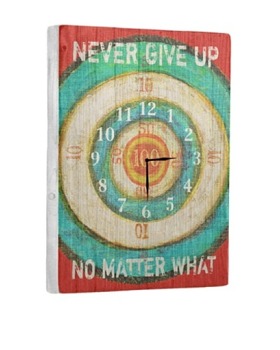 Never Give Up Reclaimed Wood Clock, Red