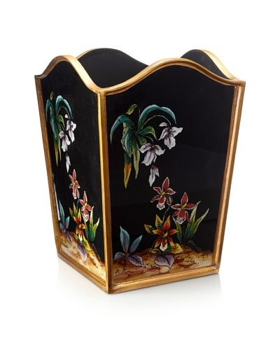 Reverse-Painted Glass Wastebasket, Black/Orchid