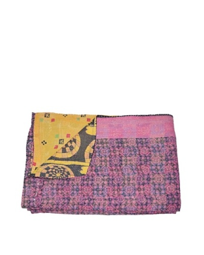Large Vintage Pushpa Kantha Throw, Multi, 60 x 90