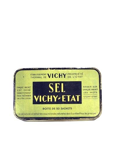 Vintage Sel Vichy-Etat Tin, Green/Blue