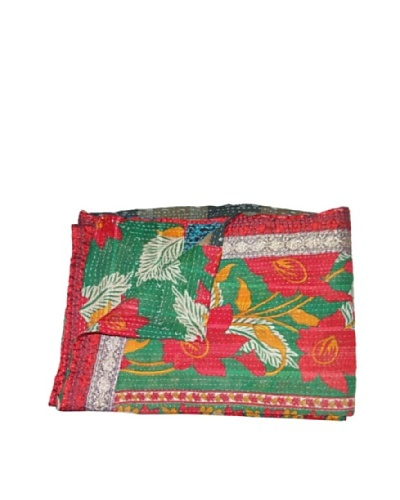 Large Vintage Navneet Kantha Throw, Multi, 60 x 90