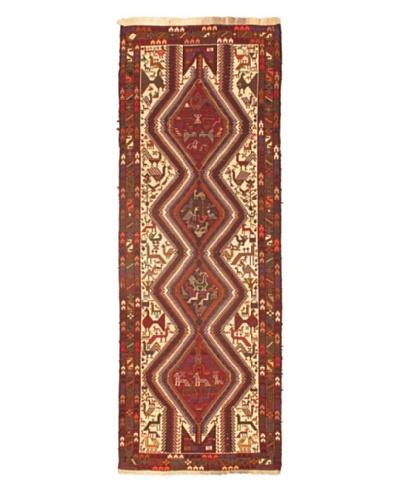 "Hand woven Ghafkazi Traditional Runner Wool Sumak, Cream, 3' 5"" x 9' 9"" Runner"