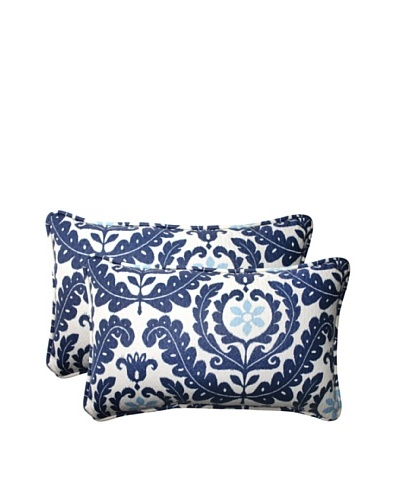 Set of 2 Outdoor Meridian Pool Rectangle Corded Toss Pillows [Navy/Aqua/Cream]