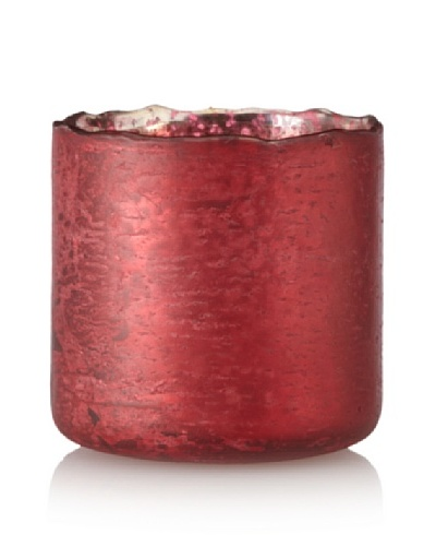 Antique Foil Finish Uneven Rim Glass Votive, Red