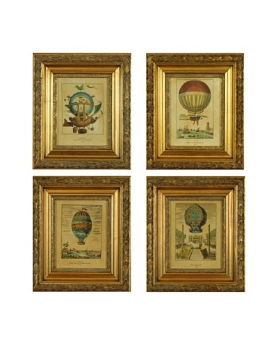Set of Four Framed French Balloon Prints