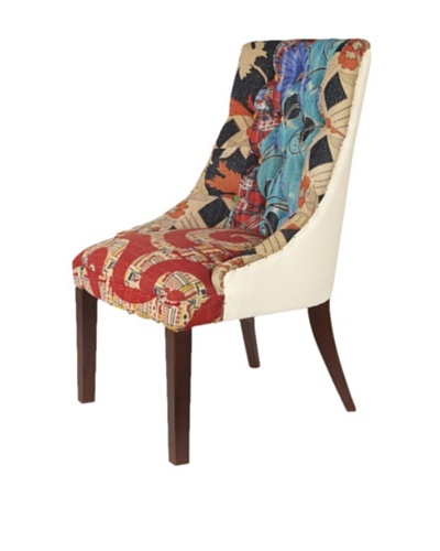 Kantha Accent Chair, Blue Multi