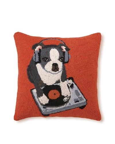 Hook Pillow, DJ Boston Terrier, 18 x 18