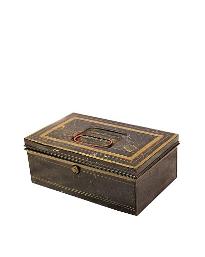 Tin Box with Lock Black/Gold/Red