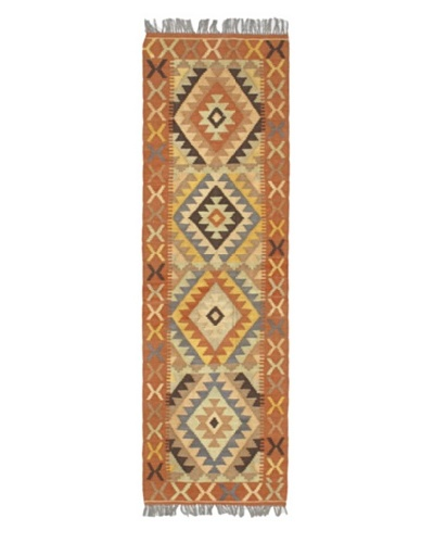 Hand woven Istanbul Yama Kilim Traditional Runner Wool Kilim, Copper, 2' x 6' 6 Runner