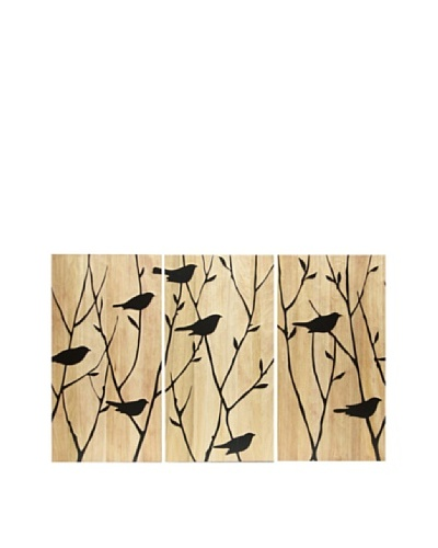 Set of 3 Black Birds Wall Décor