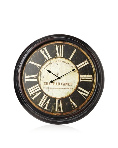 Oversized Metal-Framed Clock, Black/Ivory, 36