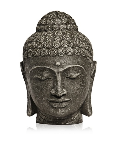 Biji Stone Buddha Head, Grey, Small