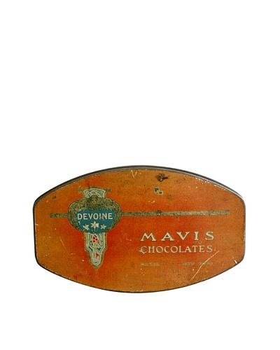 Vintage Devoine Mavis Chocolates Tin Box, Red/Blue/Gold