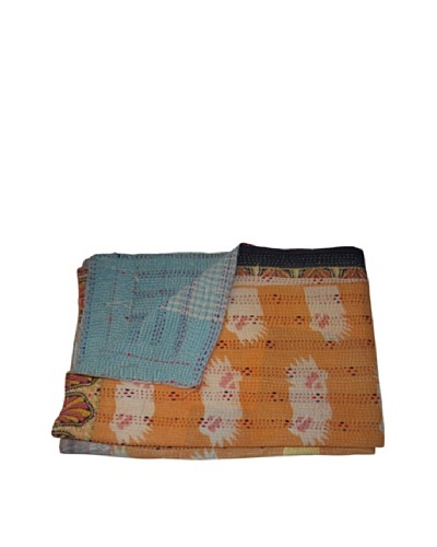 Vintage Navneet Kantha Throw, Multi, 60 x 90