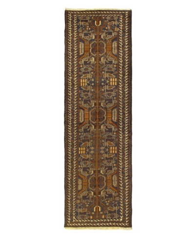 Hand-knotted Royal Balouch Traditional Runner Wool Rug, Dark Brown, 2' 9 x 9' 5 Runner