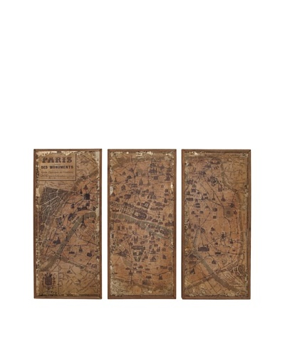 Set of 3 Wooden Wall Map Panels, Natural