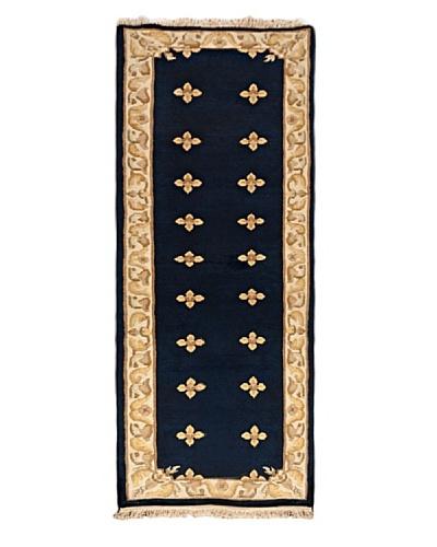 Hand-Knotted Karma Wool Rug, Dark Navy, 2' 6 x 7' 6 Runner