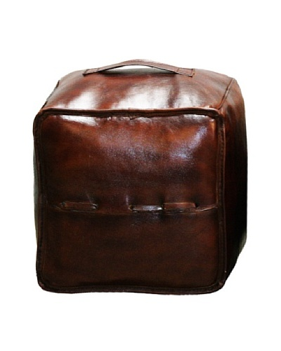 Leather Colla Ottoman, ChocolateAs You See