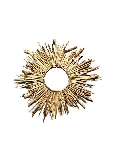 Spiky Round Drfitwood Mirror, Natural, Large